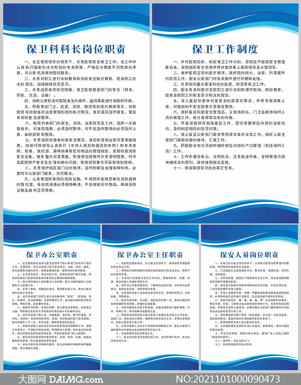 企业保卫科保卫工作制度板矢量素材