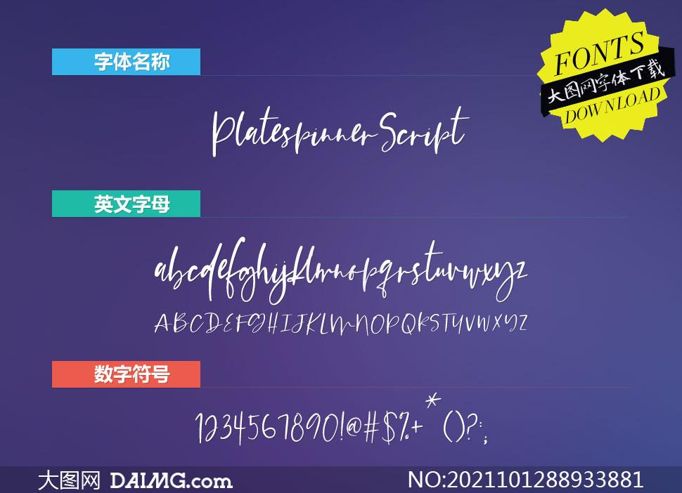 PlatespinnerScript(英文字体)