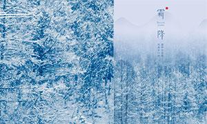 簡約風格霜降節氣宣傳單設計PSD素材